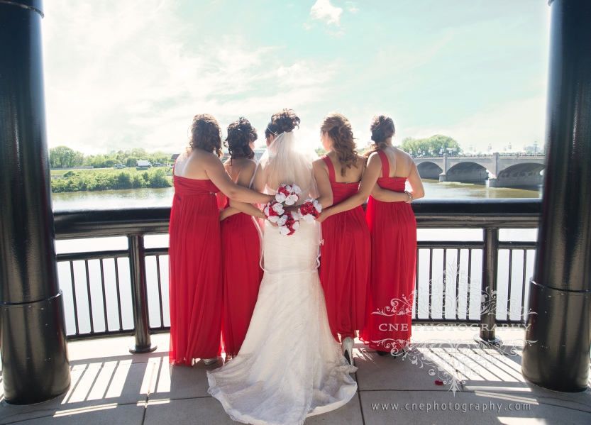 Indianapolis Downtown Wedding ~ Alondra + Edwin, Red bridesmaid dresses