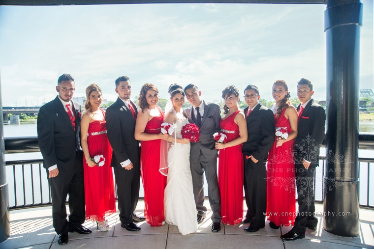Indianapolis Downtown Wedding ~ Alondra + Edwin, red bridesmaids dresses